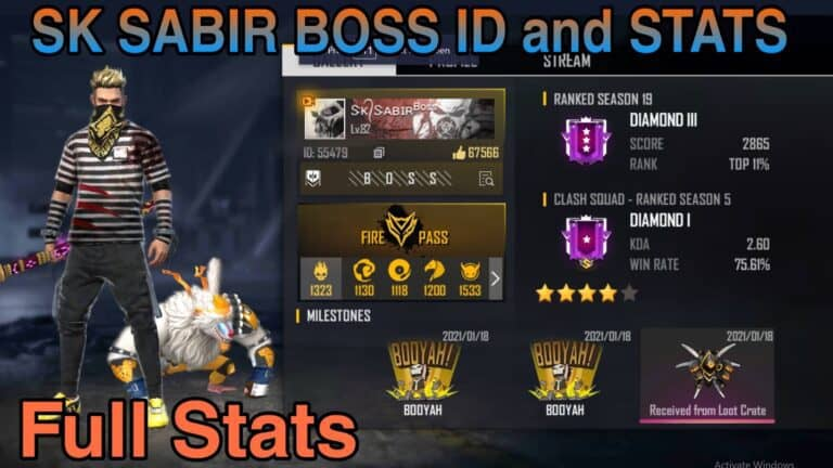 SK Sabir Boss Free Fire ID-SK Sabir Gaming Total Likes-Kills-More