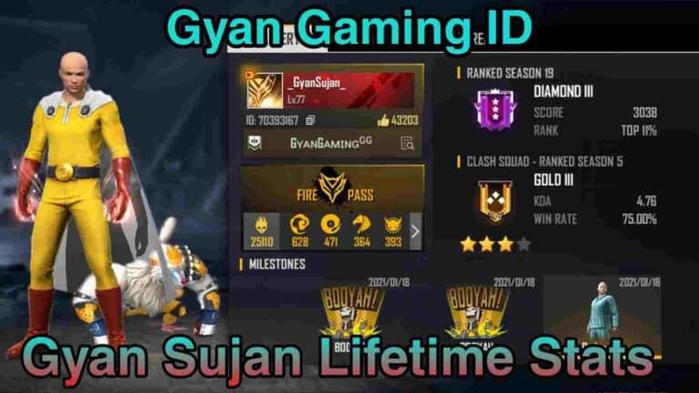Gyan Gaming Free Fire ID-Gyan Gaming Total Likes-Kills-More