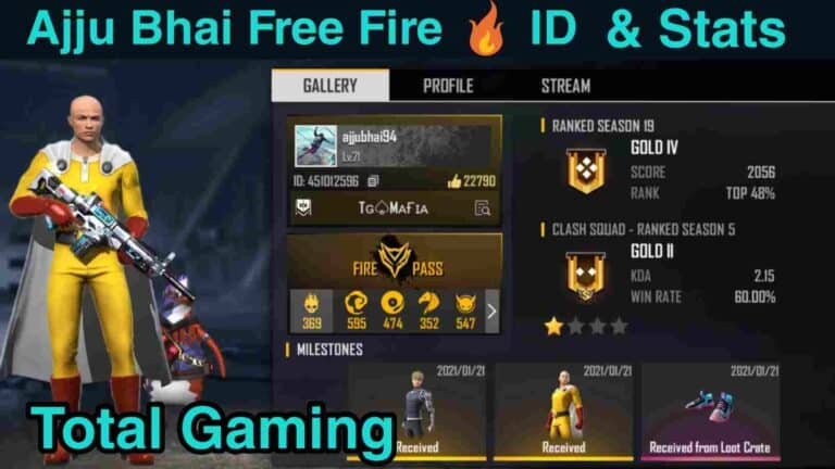 Total Gaming Ajju Bhai Free Fire ID-Lifetime Stats and More