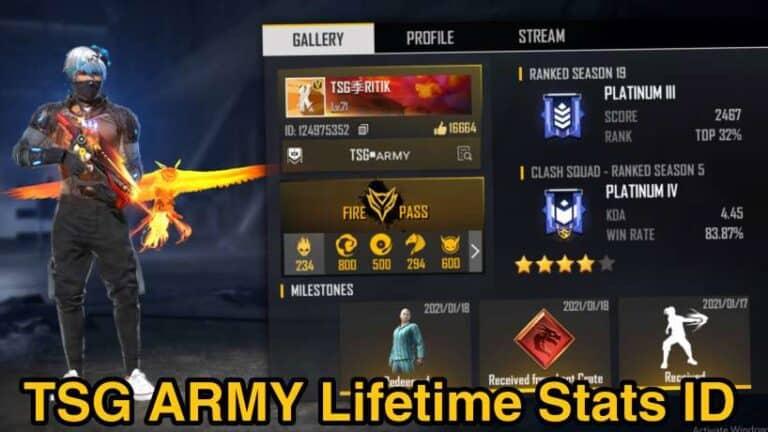 TSG ARMY Free Fire ID-Lifetime Stats- Total Likes-Kills-More